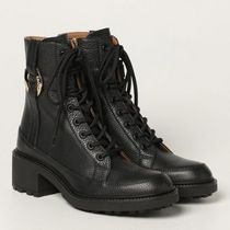 Chloe Lace-up Casual Style Plain Leather Party Style Elegant Style