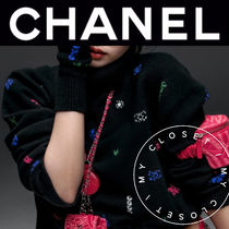 CHANEL ICON Casual Style Cashmere Street Style Long Sleeves Medium