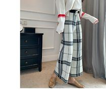 Gingham Casual Style Street Style Long Wide Leg Pants