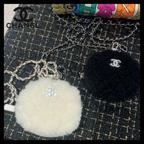 CHANEL Blended Fabrics Chain Plain Party Style Elegant Style